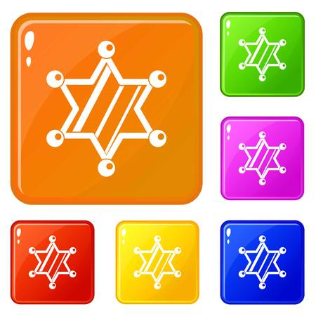 Sheriff star icons set collection vector 6 color isolated on white background Illustration