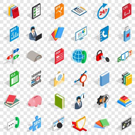 Good learning icons set, isometric style Illustration