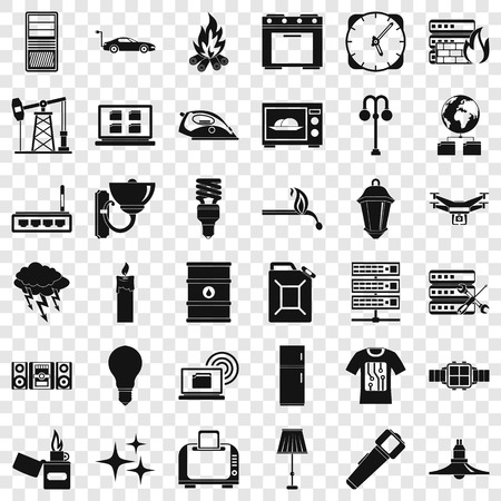 Electricity server icons set, simple style
