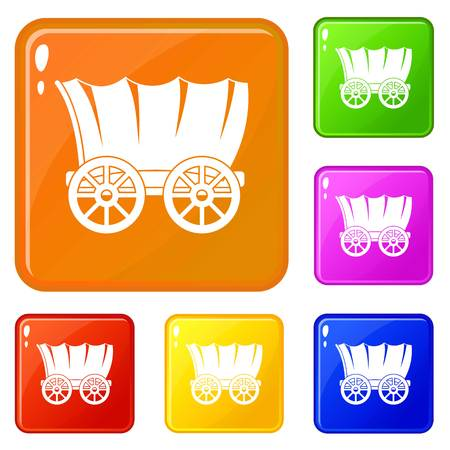 Ancient western covered wagon icons set vector color