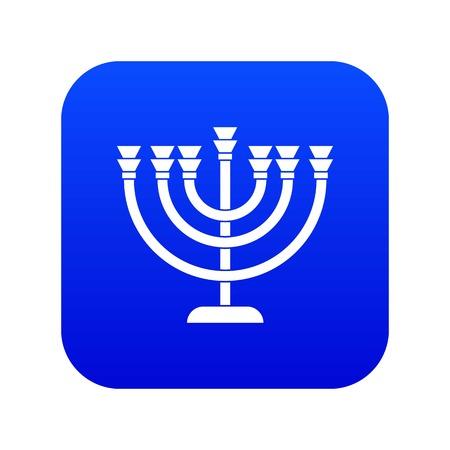 Menorah icon digital blue