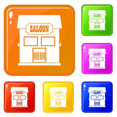 Western saloon icons set vector color