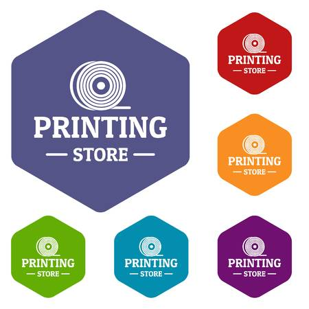 Store 3d printing icons vector hexahedron