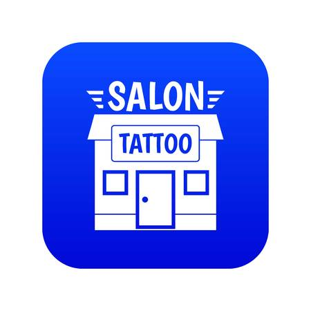 House tattoo salon icon blue vector