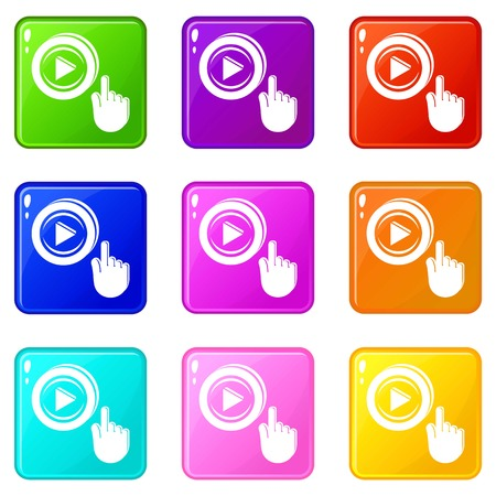 Play video icons set 9 color collection isolated on white for any design