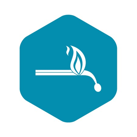 Burning match icon, simple style