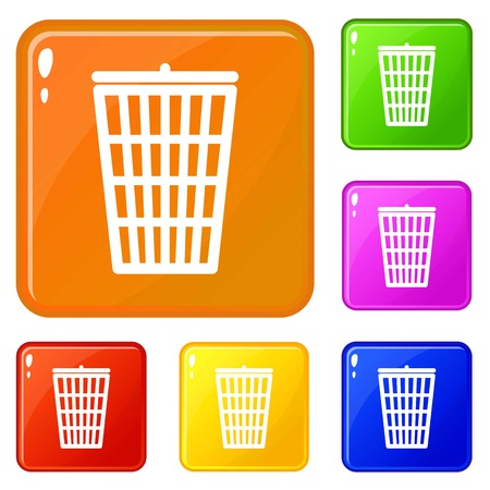 Trash can icons set collection vector 6 color isolated on white background