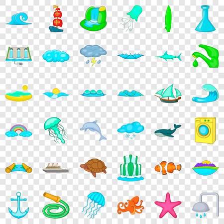 Aqua icons set, cartoon style Illustration