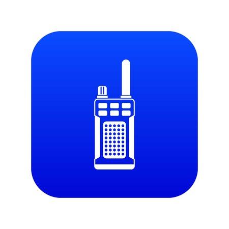 Icono de radio portátil de mano azul digital para cualquier diseño aislado en la ilustración de vector blanco