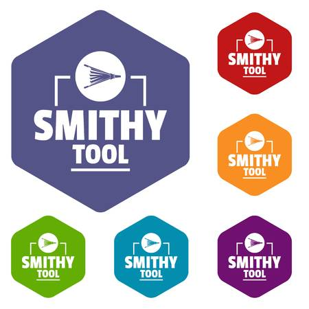 Smithy tool icons vector hexahedron