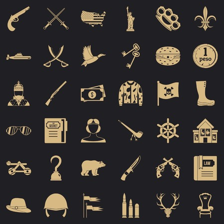 Brass knuckles icons set, simple style