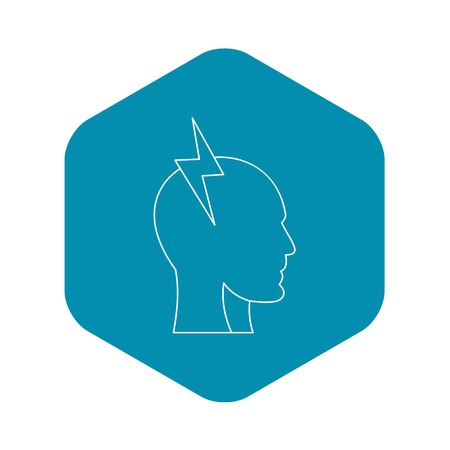 Electrical power in human head icon. Outline illustration of electrical power in human head vector icon for web
