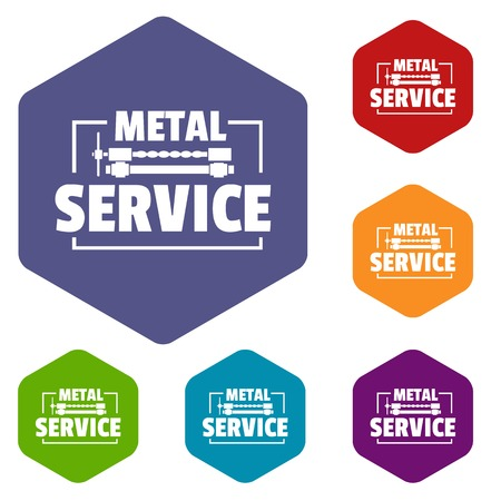 Craft service icons vector hexahedron
