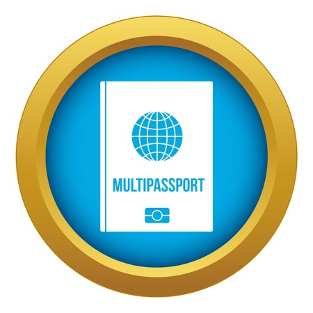Multipassport icon blue vector isolated on white background for any design