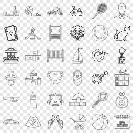 Baby icons set, outline style Illustration