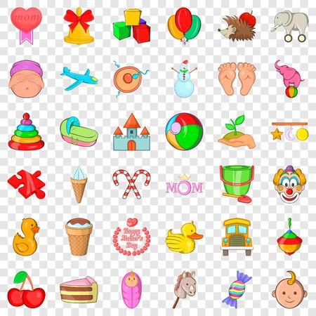 Baby care icons set, cartoon style