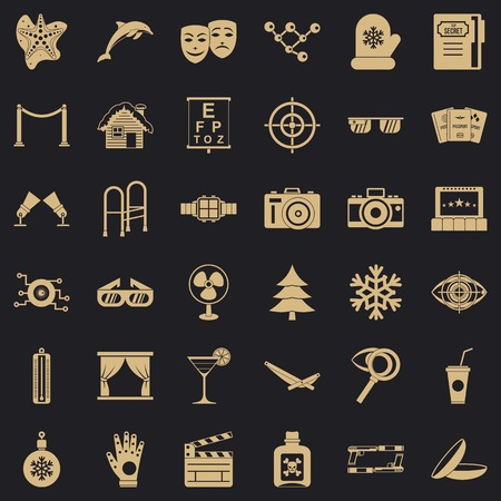 Glasses icons set, simple style