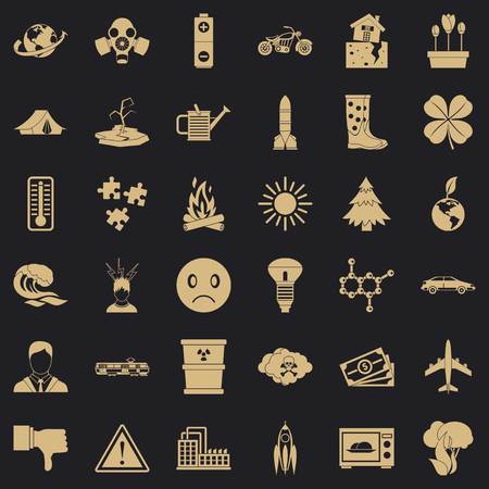 Disaster icons set, simple style