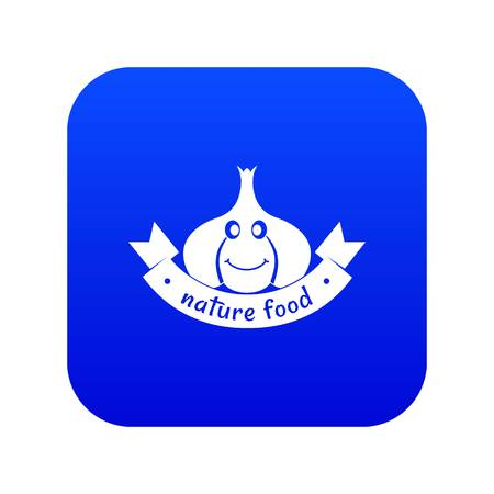 Garlic icon blue vector Illustration