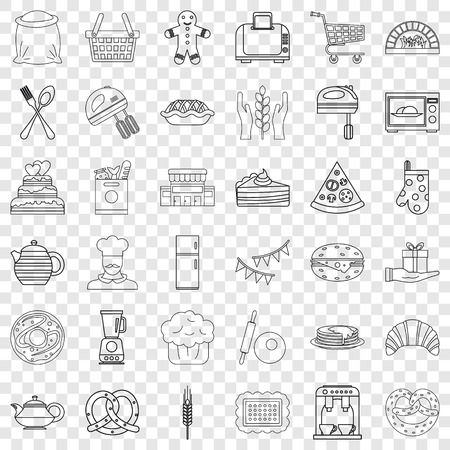 Bakery cooking icons set, outline style