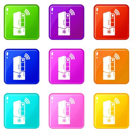 Fridge icons set 9 color collection Illustration