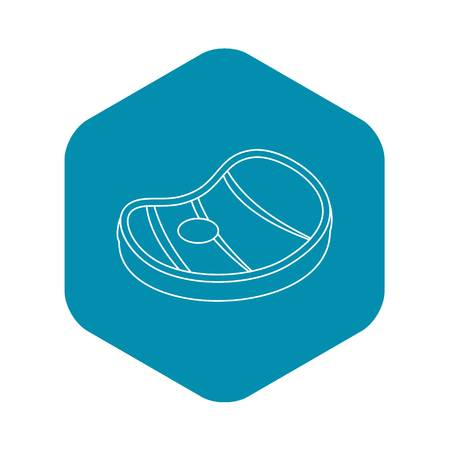 Meat steak icon. Outline illustration of meat steak vector icon for web