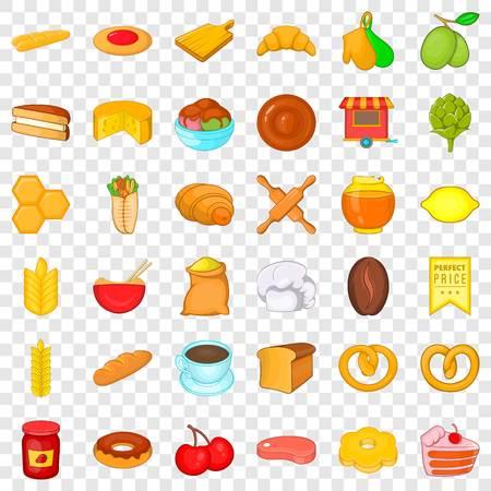 Cuisine icons set, cartoon style Ilustración de vector