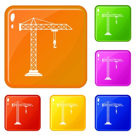 Construction crane icons set collection vector 6 color isolated on white background