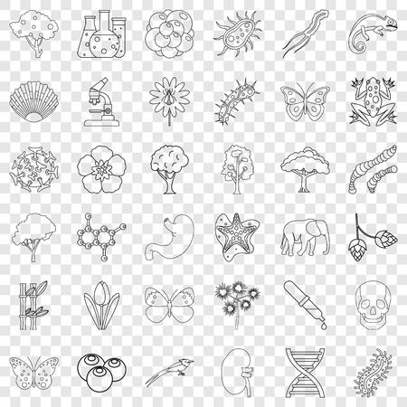 Biology icons set, outline style 向量圖像