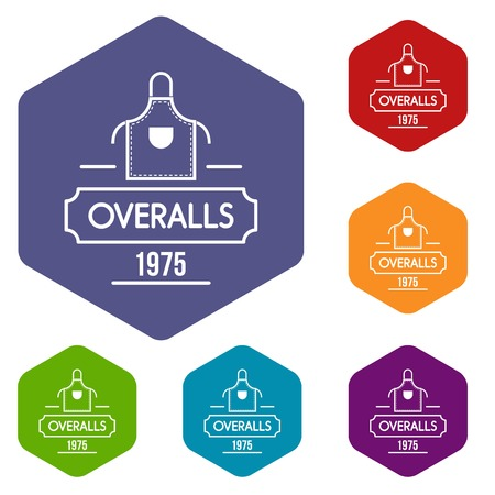 Overalls icons vector hexahedron