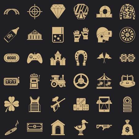 Conjunto de iconos de máquina tragamonedas, estilo simple