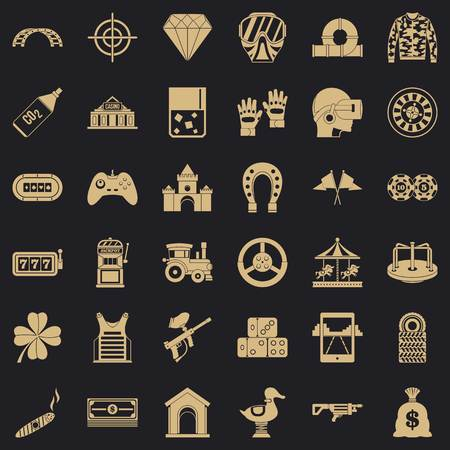 Slot machine icons set, simple style