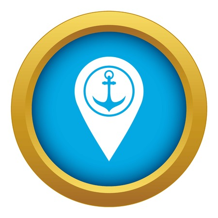 Map pointer with symbol anchor and sea port icon blue vector isolated on white background for any design