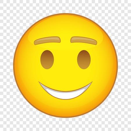 Smiling happy emoticon icon, cartoon style