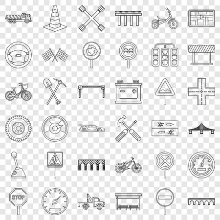 Bridge icons set, outline style Illustration