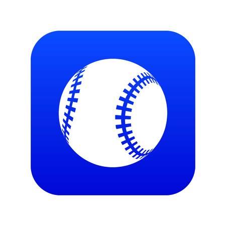 Baseball icon blue vector isolated on white background