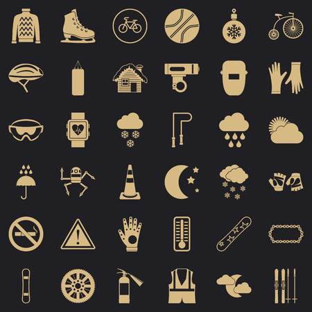 Glove icons set, simple style Imagens - 122367791