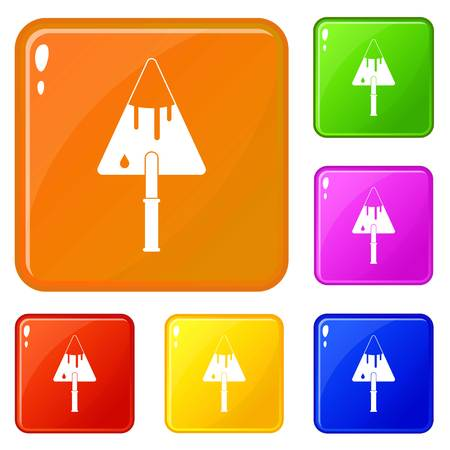 Construction trowel icons set collection vector 6 color isolated on white background