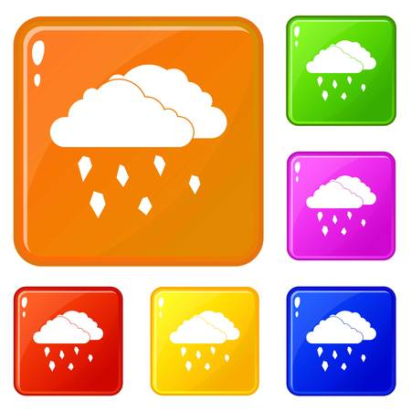 Clouds and hail icons set collection vector 6 color isolated on white background