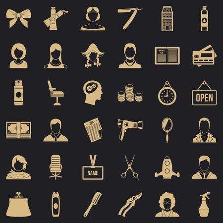 Scissors icons set, simple style