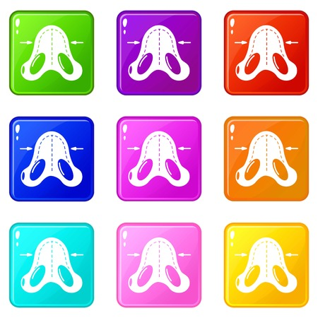 Nose reduction icons set 9 color collection