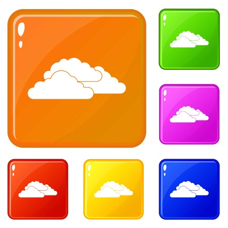 Clouds icons set collection vector 6 color isolated on white background