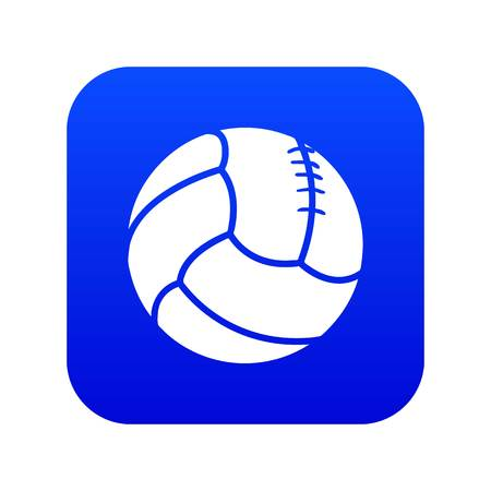 Retro volleyball icon blue vector isolated on white background Illustration