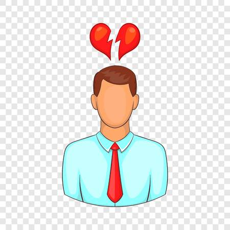 Man and broken heart icon. Cartoon illustration of human emotion vector icon for web design