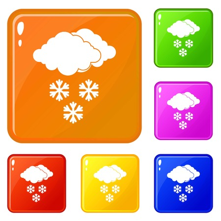 Cloud and snowflakes icons set collection vector 6 color isolated on white background