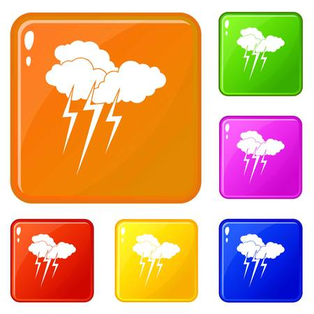 Cloud with lightnings icons set collection vector 6 color isolated on white background Illustration