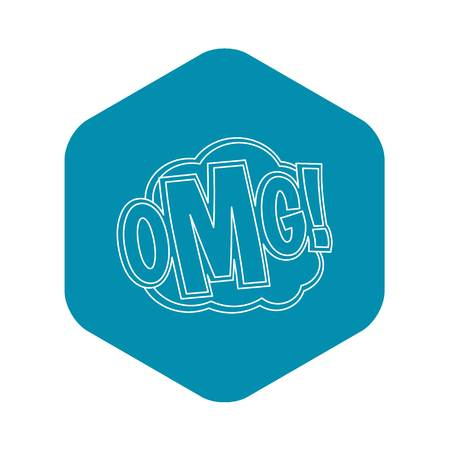 OMG, comic text sound effect icon. Outline illustration of OMG, comic text sound effect vector icon for web Illustration