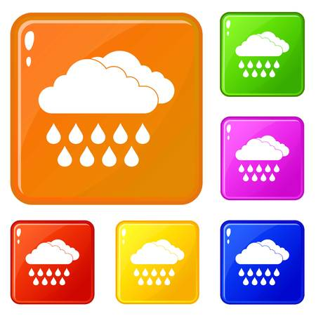Cloud and rain icons set collection vector 6 color isolated on white background