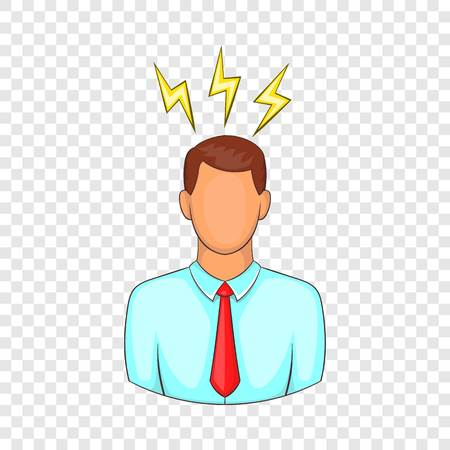 Man and lightnings near head icon. Cartoon illustration of human emotion vector icon for web design  イラスト・ベクター素材