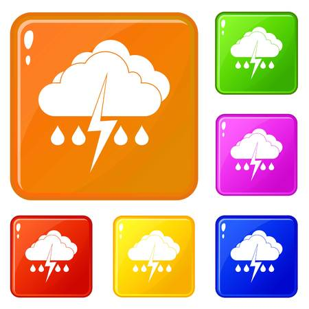 Cloud with lightning and rain icons set collection vector 6 color isolated on white background Illustration
